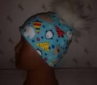 Зимней расцветки шапочка без завязок с помпонами: -черный -темно-синий -корич. Херсон, Херсонська область. фото 3