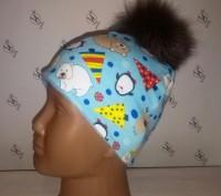 Зимней расцветки шапочка без завязок с помпонами: -черный -темно-синий -корич. Херсон, Херсонська область. фото 4