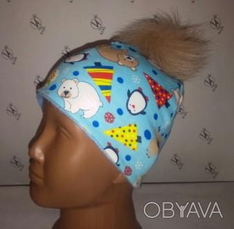 Зимней расцветки шапочка без завязок с помпонами: -черный -темно-синий -корич. Херсон, Херсонська область. фото 1