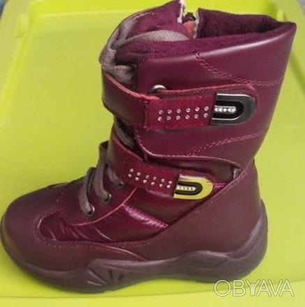 Новые зимние кожаные ботиночки для девочки 27р.-17см стелька. Житомир, Житомирская область. фото 1