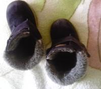 Зимние ботиночки замшевые синего цвета. Внутри мех искусственный, стелька- натур. Сумы, Сумская область. фото 5