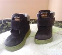 Зимние ботиночки замшевые синего цвета. Внутри мех искусственный, стелька- натур. Сумы, Сумская область. фото 3