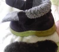 Зимние ботиночки замшевые синего цвета. Внутри мех искусственный, стелька- натур. Сумы, Сумская область. фото 8