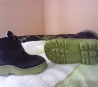 Зимние ботиночки замшевые синего цвета. Внутри мех искусственный, стелька- натур. Сумы, Сумская область. фото 6