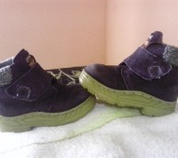 Зимние ботиночки замшевые синего цвета. Внутри мех искусственный, стелька- натур. Сумы, Сумская область. фото 2