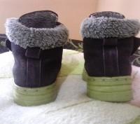 Зимние ботиночки замшевые синего цвета. Внутри мех искусственный, стелька- натур. Сумы, Сумская область. фото 4
