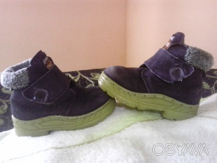 Зимние ботиночки замшевые синего цвета. Внутри мех искусственный, стелька- натур. Сумы, Сумская область. фото 1
