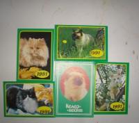 Карманные календарики Кошки . СССР. 5 штук. Житомир. фото 1