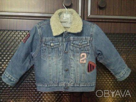 куртка джинсовая на меху(весна-осень),размер 12-24месяца. Коростень, Житомирская область. фото 1