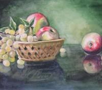 Картина Акварель - Виноград и яблоки - художник Оксана Шашкова. Житомир. фото 1