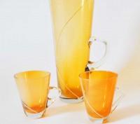 Ваза для цветов и 2 чашки (цветное стекло). Київ. фото 1