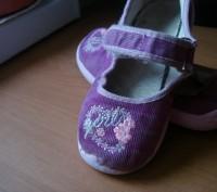 Туфли для девочки ,размер 27, длина стельки 17,5 см, текстиль- вельвет, застежка. Полтава, Полтавская область. фото 2