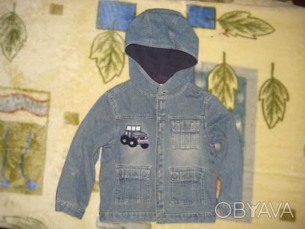 пиджак джинсовый с подкладкой на пуговицах.с капюшоном.в нормальном состоянии-45. Кременчуг, Полтавская область. фото 1