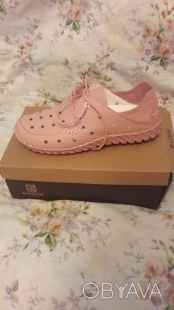 Туфли женские летние спортивные розовые на шнурках. Лёгкие. Кожаные. 41 размер.. Херсон, Херсонская область. фото 1