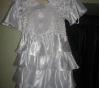 детское платье, белое атласное очень красивое, от 9 лет. Никополь, Днепропетровская область. фото 3