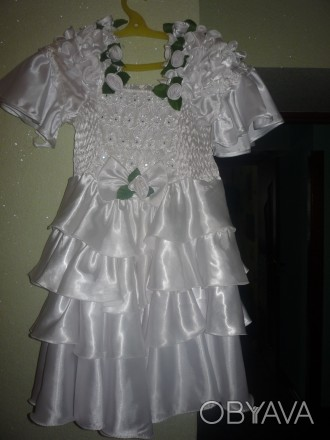 детское платье, белое атласное очень красивое, от 9 лет. Никополь, Днепропетровская область. фото 1