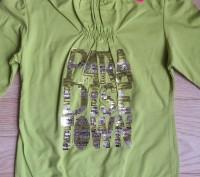 Модель П-27. Теплая зеленая водолазка на девочку. Надписи из пайеток. Производи. Киев, Киевская область. фото 2