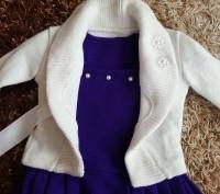Модель  ПЛ-8. Фиолетовое платье + белое болеро + сумочка.   Платье с витрины, ц. Киев, Киевская область. фото 2