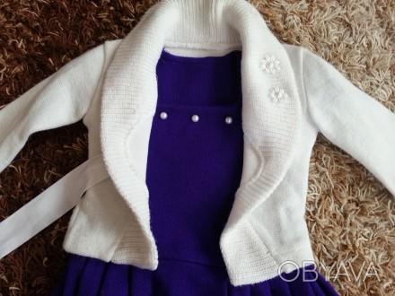 Модель  ПЛ-8. Фиолетовое платье + белое болеро + сумочка.   Платье с витрины, ц. Киев, Киевская область. фото 1