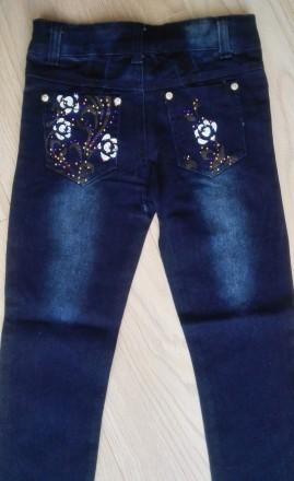 Модель Ш-66 (фото 1-4). Синие джинсы на девочку, карманы украшены кожаными встав. Киев, Киевская область. фото 8