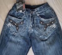 Модель Ш-66 (фото 1-4). Синие джинсы на девочку, карманы украшены кожаными встав. Киев, Киевская область. фото 4
