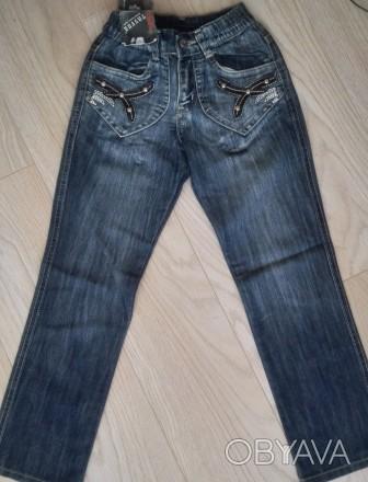 Модель Ш-66 (фото 1-4). Синие джинсы на девочку, карманы украшены кожаными встав. Киев, Киевская область. фото 1