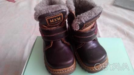 Классные зимние ботиночки коричневого цвета, 25 размера, длина по стельке-14 см.. Винница, Винницкая область. фото 1