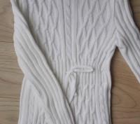 Модель К-14. Белый удлиненный свитер-туника. Украшен большим красивым воротником. Киев, Киевская область. фото 3