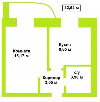 1-комнатная квартира находится 4-м этаже.  Новый жилой массив по ул. Стрелецка. Летное училище, Чернігів, Черниговская область. фото 3