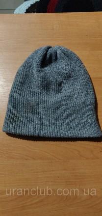 Мужская вязанная шапка, серая с подкладкой.   Фото оригинальное. Днепр, Днепропетровская область. фото 2