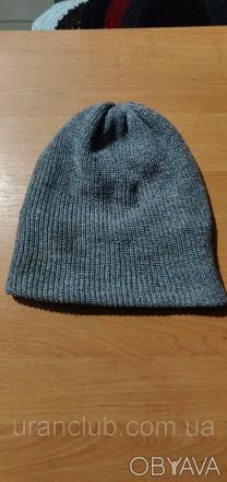 Мужская вязанная шапка, серая с подкладкой.   Фото оригинальное. Днепр, Днепропетровская область. фото 1