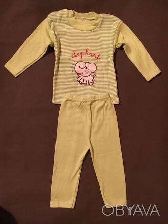 Костюмчик - пижамка розовая для девочки 3 - 9 мес 100% хлопок. Киев, Киевская область. фото 1