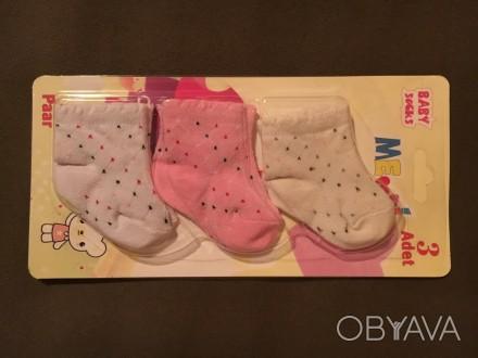 Носочки для девочки 3 мес В упаковке 3 пары. Киев, Киевская область. фото 1