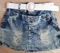 Модель Ш-46. Стильная джинсовая юбка-шорты. Вид спереди - как юбка, сзади - как . Киев, Киевская область. фото 2