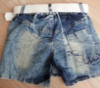 Модель Ш-46. Стильная джинсовая юбка-шорты. Вид спереди - как юбка, сзади - как . Киев, Киевская область. фото 3