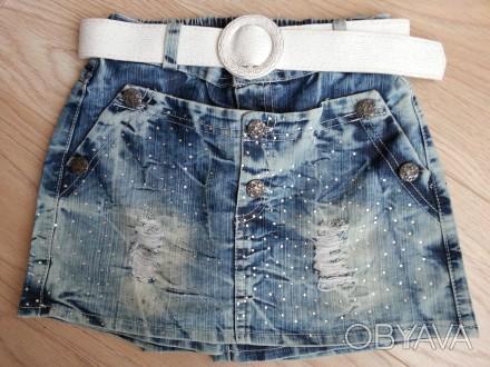 Модель Ш-46. Стильная джинсовая юбка-шорты. Вид спереди - как юбка, сзади - как . Киев, Киевская область. фото 1
