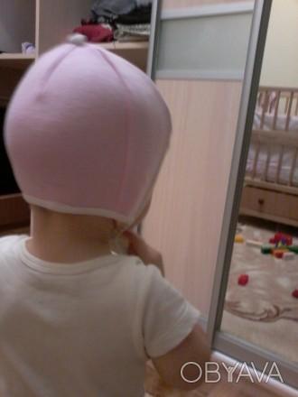 Шапка рожева біла від 6 - 12 місяців .Стан ідеальний.Добре фіксує голову дитини.. Львов, Львовская область. фото 1