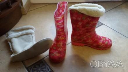 чоботи гумові з теплою шкарпеткою, що вкладається, привокзальна, самовивіз.. Львов, Львовская область. фото 1