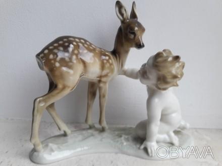 Фарфоровая статуэтка Hutschenreuther путти с олененком германия