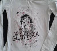 Белая футболка с принтом и стразиками для девочки 8-10 лет. Киев. фото 1
