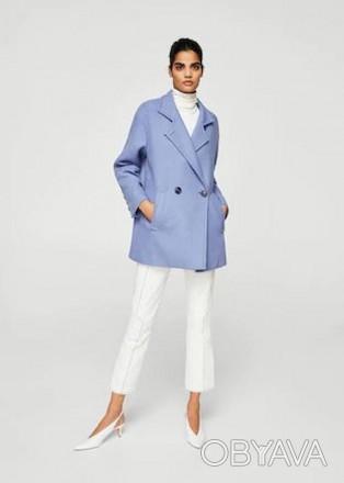 Пальто  Mango цвет голубой  ( Пальто шерстяное)