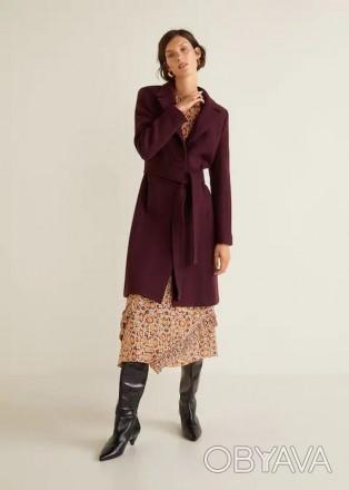 Пальто  Mango цвет марсала ( Пальто шерстяное)