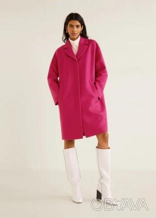 Пальто шерсть mango премиум - цвет- хит фуксия! оверсайз! шикарное качество! 201