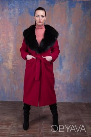 Яркое шерстяное пальто и финский песец ( Пальто шерстяное) Кашемир Шерсть Италия