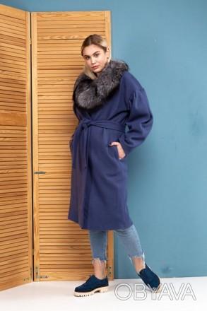 Яркое шерстяное пальто финская чернобурка шерсть Италия ( Пальто шерстяное)