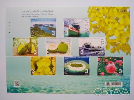 """серия марок """"Thailand-Maldives Joint Issue""""   темы: рыбацие лодки, цветы, фрук. Ирпень, Киевская область. фото 1"""