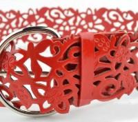 Продам новый женский широкий пояс кружевной красного цвета. Харьков. фото 1