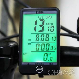 Провідний вело комп'ютер SunDing SD-576A c підсвічуванням.  Особливості: Вели. Львов, Львовская область. фото 1