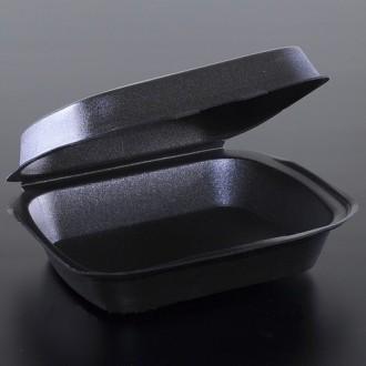 Ланч бокс из полистирола черный без делен, контейнер пищевой, одноразовая посуда. Киев. фото 1