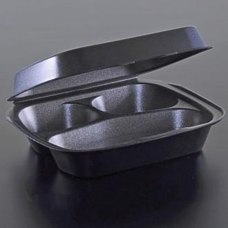 Ланч бокс из полистирола черный на три деления, контейнер пищевой. Киев. фото 1